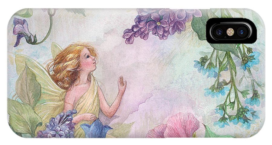 Enchanting IPhone X Case featuring the painting Lilac Enchanting Flower Fairy by Judith Cheng
