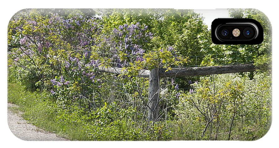Lilacs IPhone X Case featuring the photograph Lilac Fence I by Corinne Elizabeth Cowherd