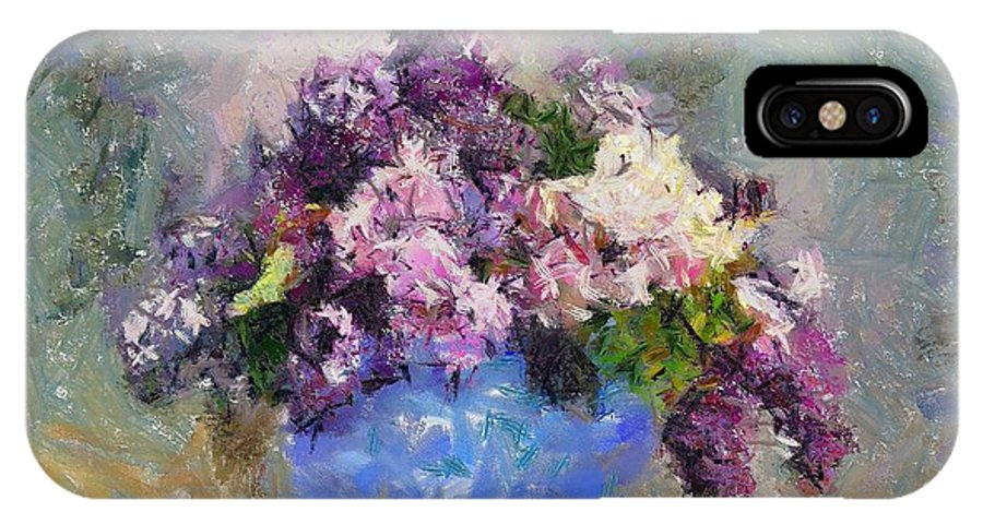 Stilllife IPhone X Case featuring the painting Lilac In Blue Vase by Dragica Micki Fortuna