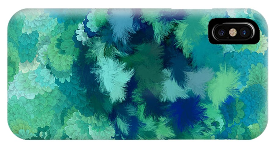Flowers IPhone X Case featuring the digital art Lilac Of The Valley Teal Green by Holley Jacobs