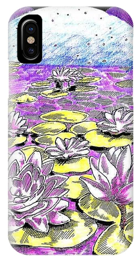 Lilies Of The Lake IPhone X Case featuring the drawing Lilies Of The Lake by Seth Weaver
