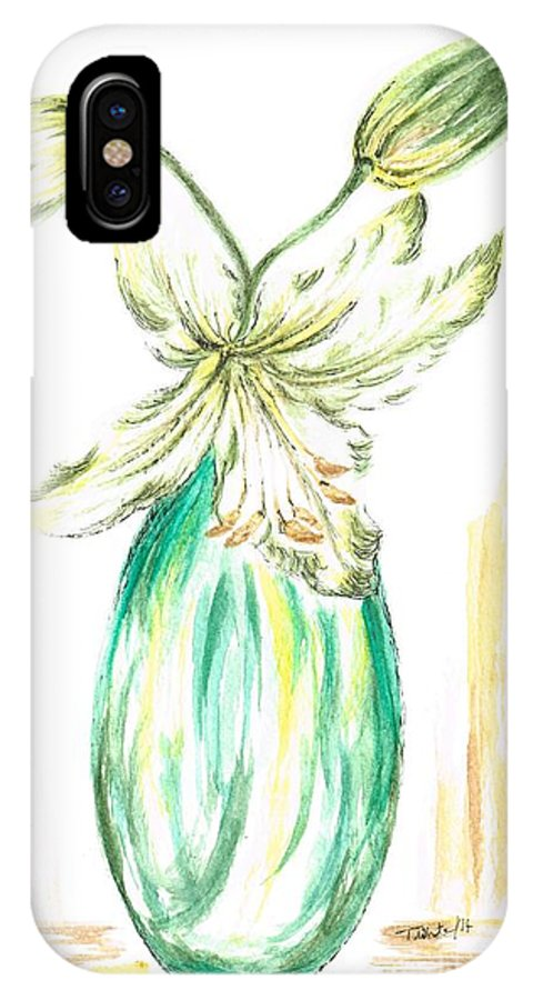 Teresawhite IPhone X Case featuring the painting Lilies by Teresa White