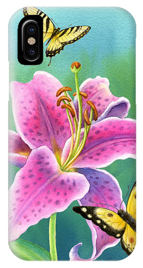 Lilies IPhone X Case featuring the painting Lily And Butterflies by Barbara Lanza