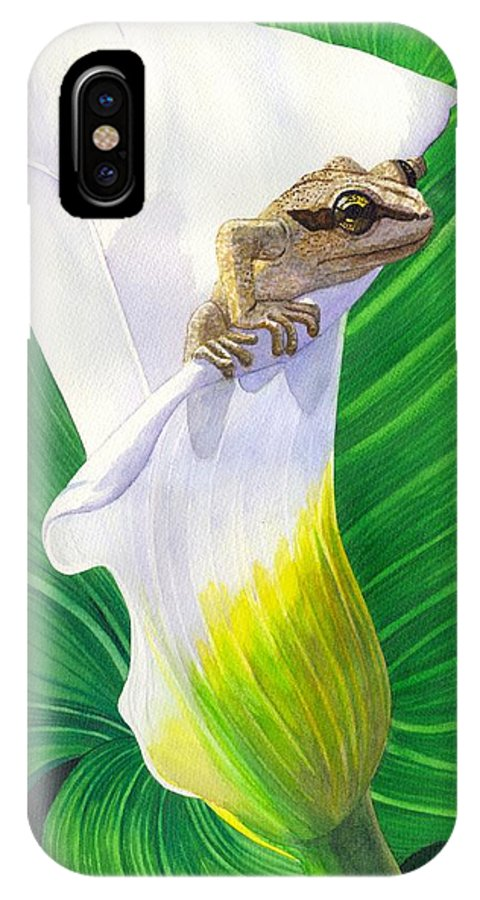 Frog IPhone Case featuring the painting Lily Dipping by Catherine G McElroy