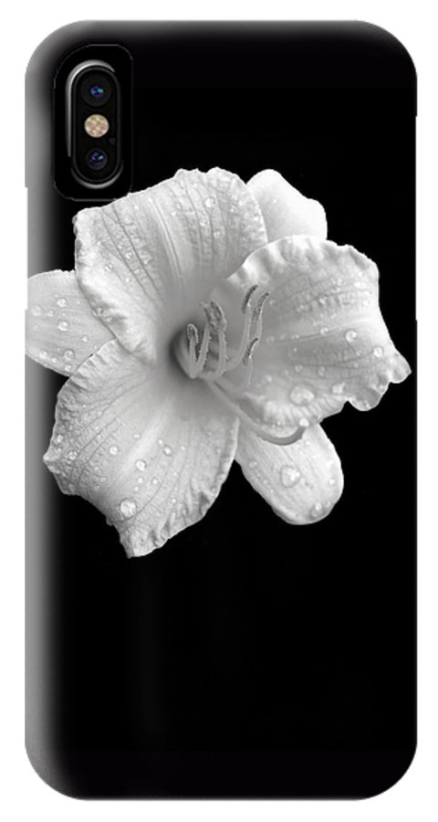 Flower IPhone X Case featuring the photograph Lily In Black And White by Ann Powell