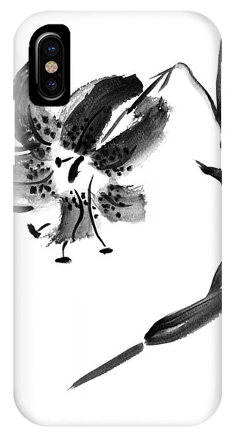 Lily IPhone X Case featuring the painting Lily In Black by Patricia Novack