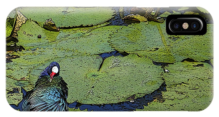#lily #exoticbird #puntacana #dominicanrepublic #nature IPhone X Case featuring the digital art Lily Pad With Bird2 by Jacquelinemari