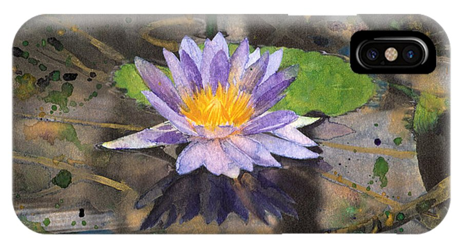 Nympheas IPhone X / XS Case featuring the painting Lily Pad With Purple Flower by Susan Powell