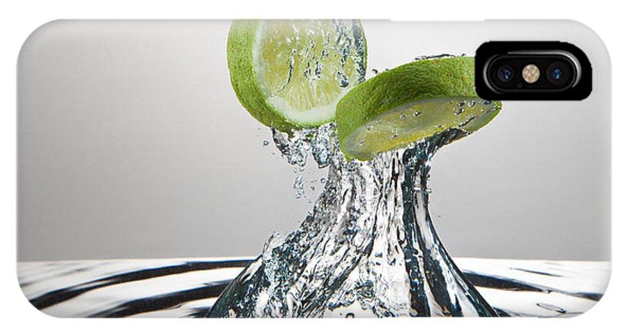 Action IPhone X Case featuring the photograph Lime Freshsplash by Steve Gadomski