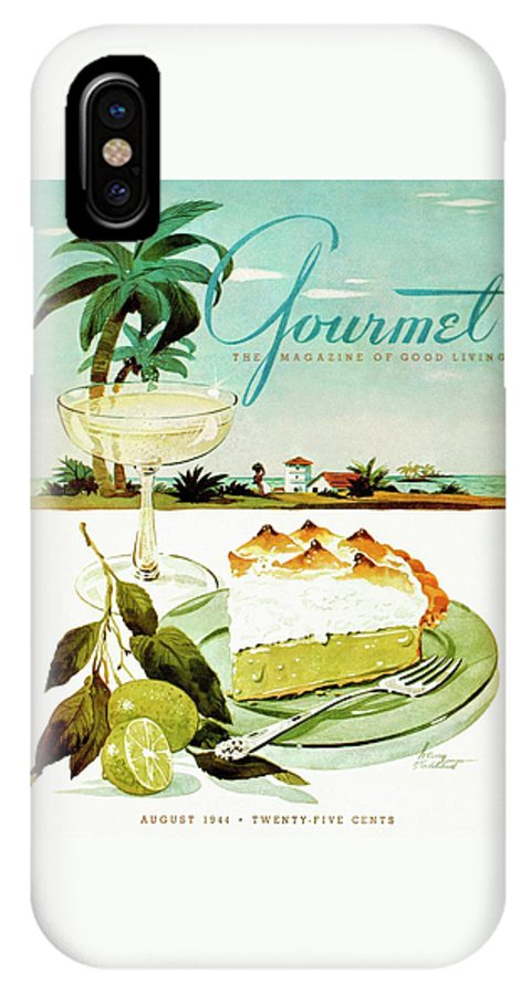 Food IPhone X Case featuring the photograph Lime Meringue Pie With Champagne by Henry Stahlhut