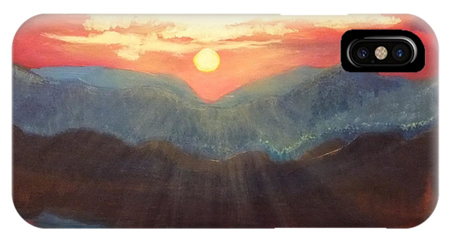 Sunset IPhone X Case featuring the painting Limon Sun by Shaun Rooker