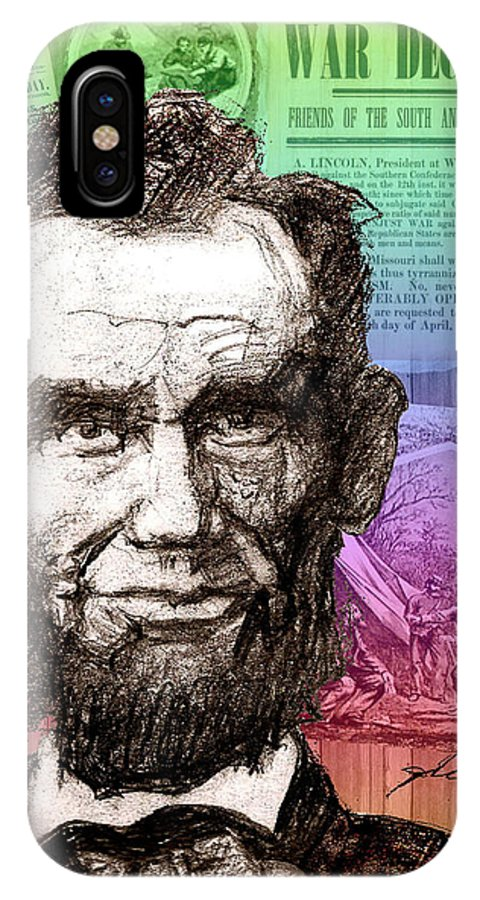 Lincoln's Billboard Of History IPhone X Case featuring the drawing Lincoln's Billboard Of History by Craig A Christiansen