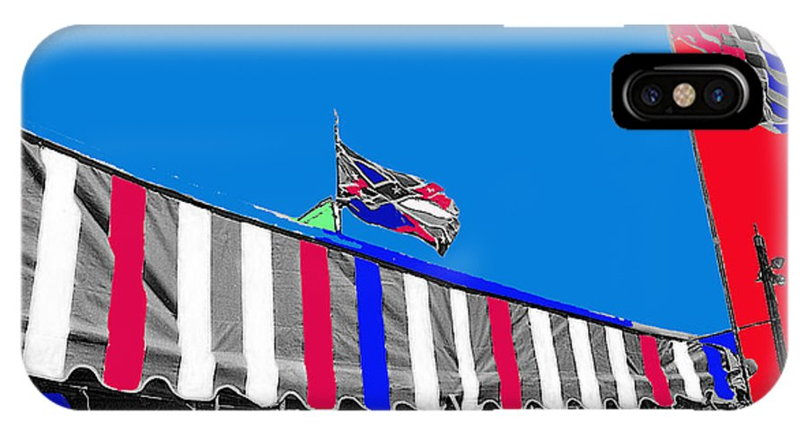 Line Of Hats Tent Us Confederate Flags Tucson Arizona 1984 Color Added IPhone X / XS Case featuring the photograph Line Of Hats Tent Us Confederate Flags Tucson Arizona 1984-2012 by David Lee Guss