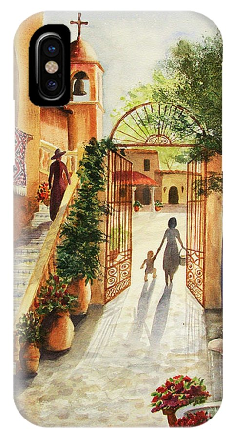 Tlaquepaque IPhone X Case featuring the painting Lingering Spirit-sedona by Marilyn Smith