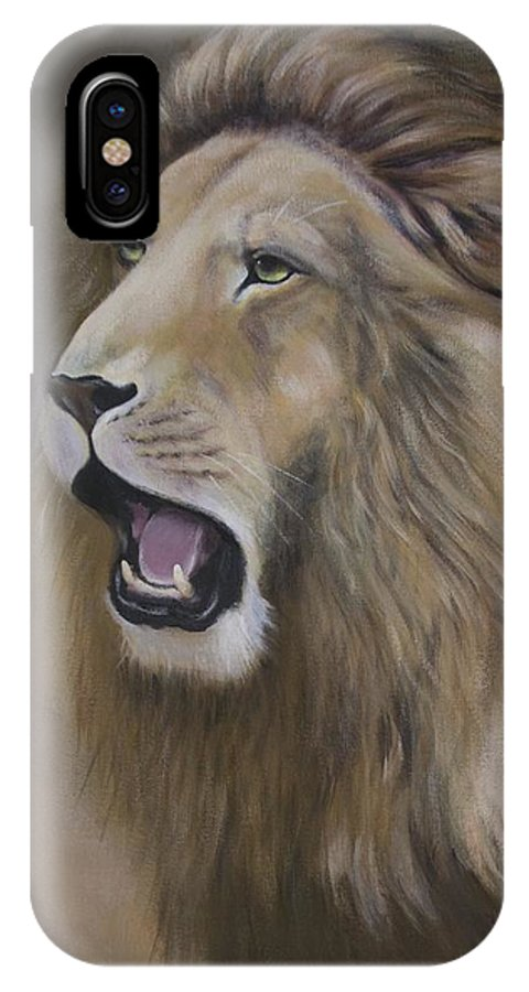 Lion IPhone X Case featuring the painting Lion by Barbara Hymer