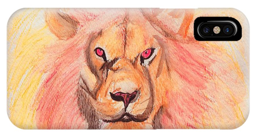 Lion IPhone X Case featuring the painting Lion Orange by First Star Art