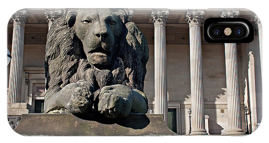 St Georges Hall IPhone X Case featuring the photograph Lion Statue In Front Of St Georges Hall Liverpool Uk by Ken Biggs