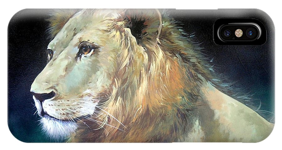 Lion IPhone X Case featuring the painting Lion by Sundarakannan Srinivasan