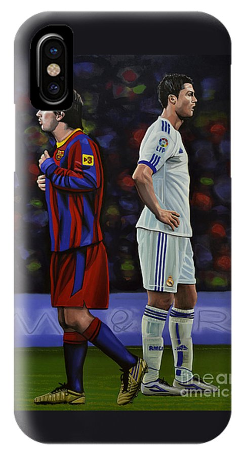 Lionel Messi IPhone X Case featuring the painting Lionel Messi And Cristiano Ronaldo by Paul Meijering