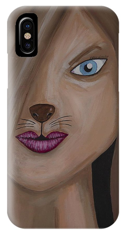 Lion Lioness Portrait Acrylic Port Credit Mississauga Ontario Canada Furry Pretty Blue Eyes IPhone X Case featuring the painting Lioness by David Simmons