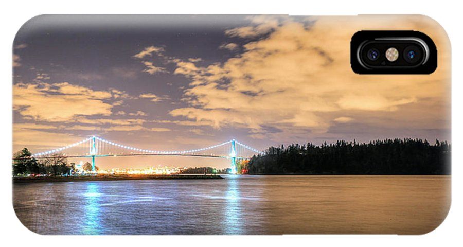 Vancouver IPhone X Case featuring the photograph Lion's Gate Bridge Vancouver At Night by Eti Reid