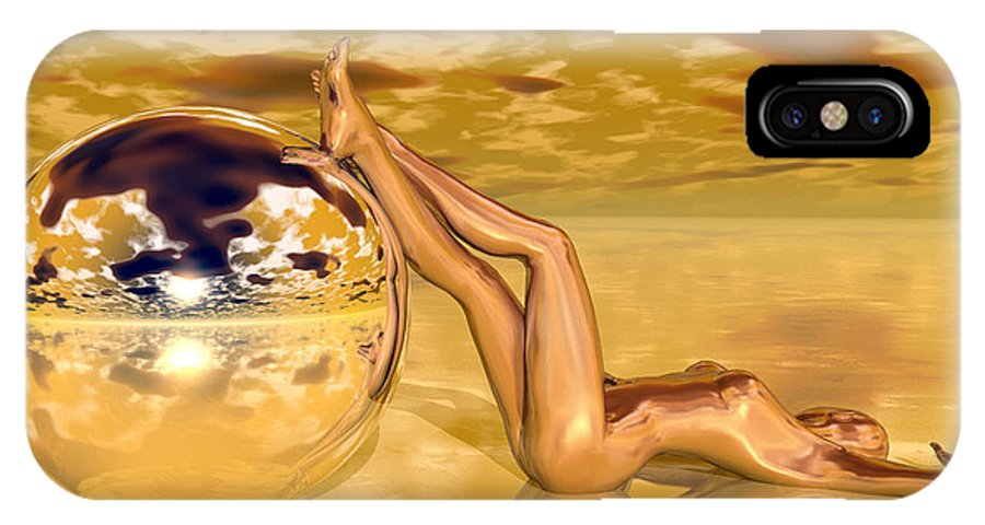 Sandra Bauser IPhone X Case featuring the digital art Liquid Gold by Sandra Bauser Digital Art