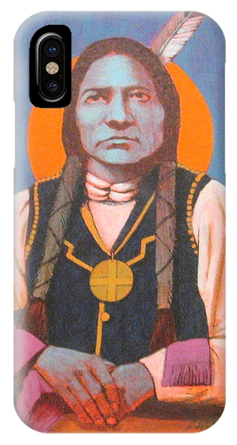Oglala Sioux Warrior Chief IPhone X Case featuring the painting Little Big Man by J W Kelly