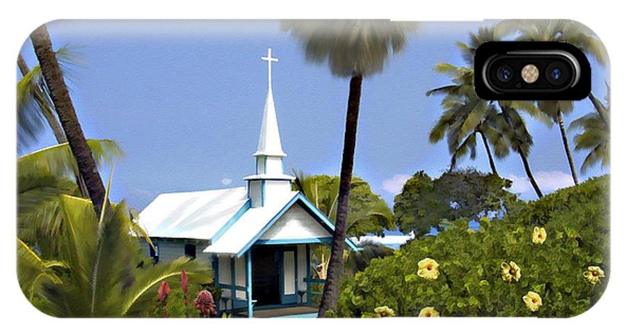 Hawaii IPhone X Case featuring the photograph Little Blue Church Kona by Kurt Van Wagner