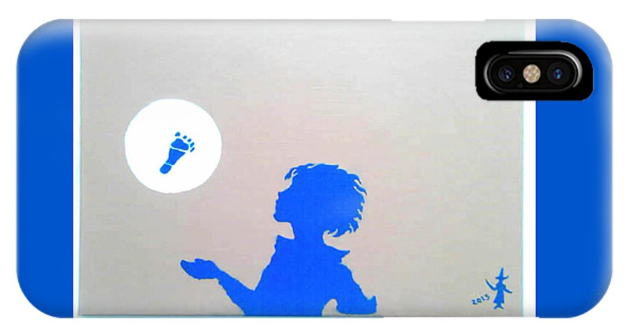 Figurative IPhone X Case featuring the painting Little Boy Blue Has Lost His Shoe by MERLIN Vernon