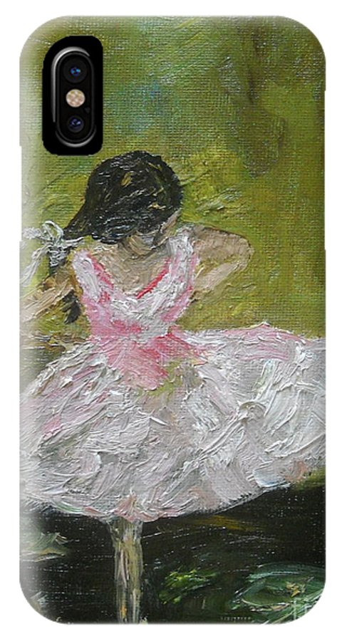 Girl IPhone X Case featuring the painting Little Dansarina by Reina Resto