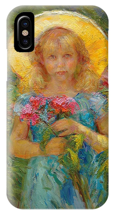 Girl IPhone X Case featuring the painting Little Flower Girl by Diane Leonard