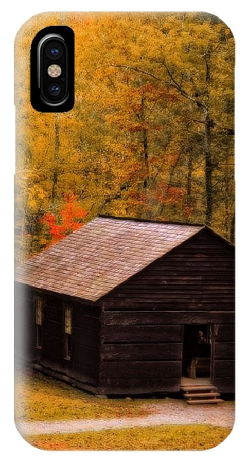 Little Greenbrier Schoolhouse In Autumn IPhone X Case featuring the photograph Little Greenbrier Schoolhouse In Autumn by Dan Sproul
