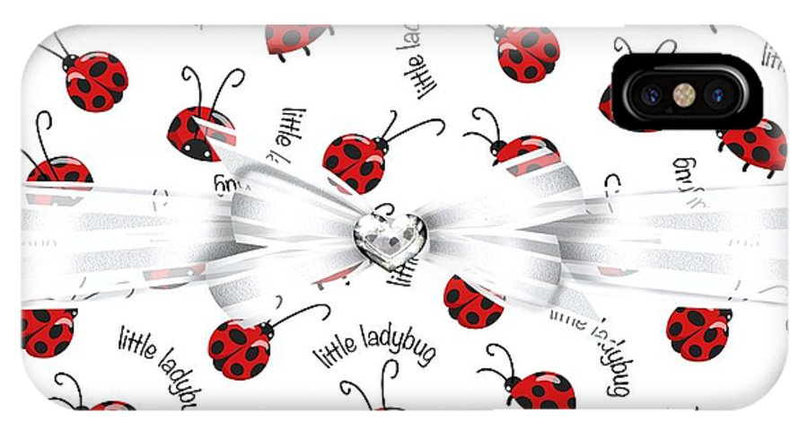 White Ribbon IPhone X Case featuring the digital art Little Ladybug Treats by Debra Miller