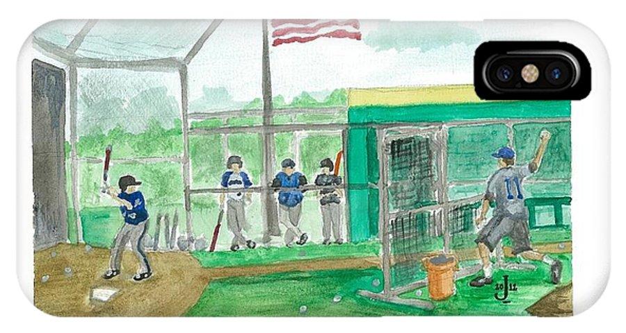 Little League IPhone X Case featuring the painting Little League Bp by Jeremiah Iannacci