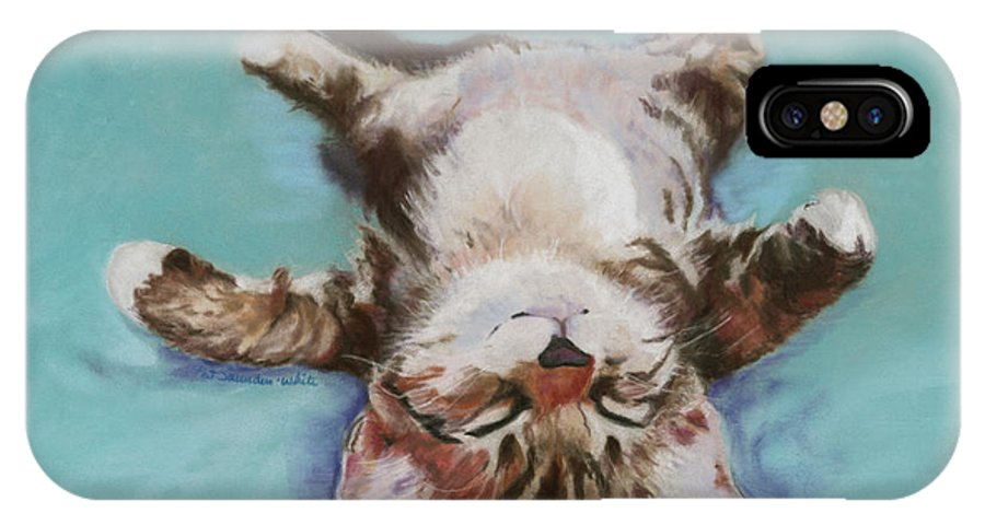Cat Painting IPhone X Case featuring the pastel Little Napper by Pat Saunders-White