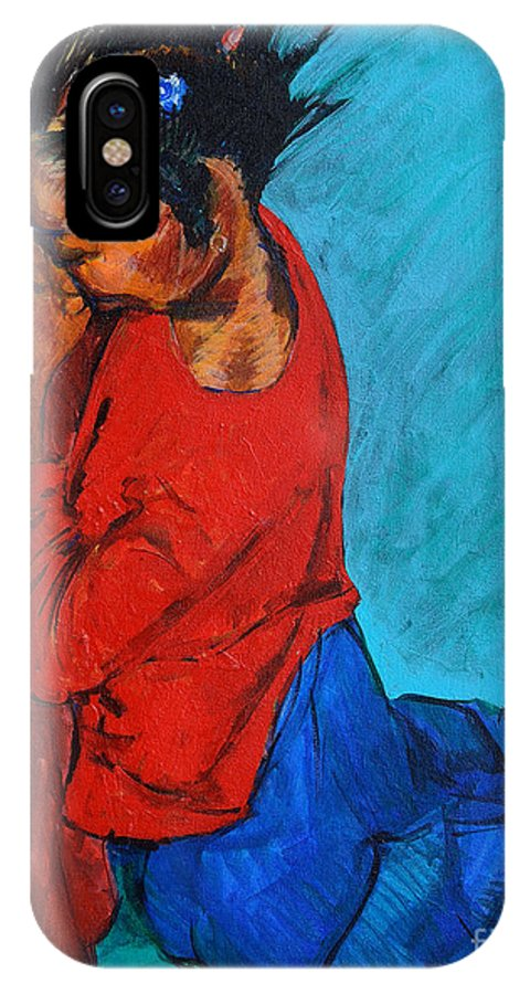 Child IPhone X Case featuring the painting Little Pray-er by Charles M Williams