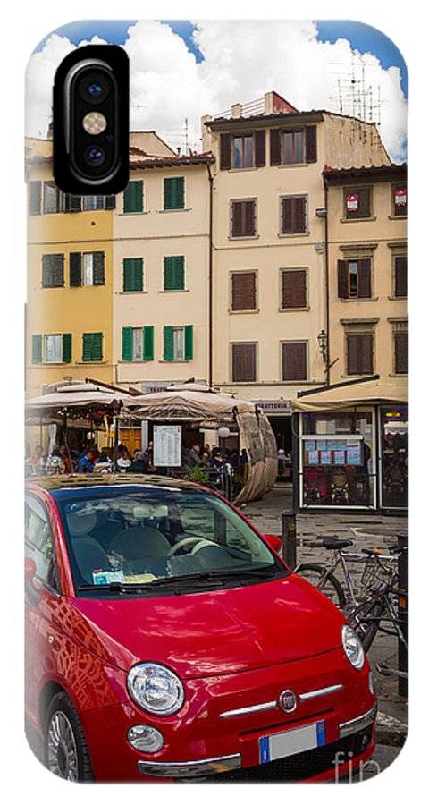 Europe IPhone X Case featuring the photograph Little Red Fiat by Inge Johnsson