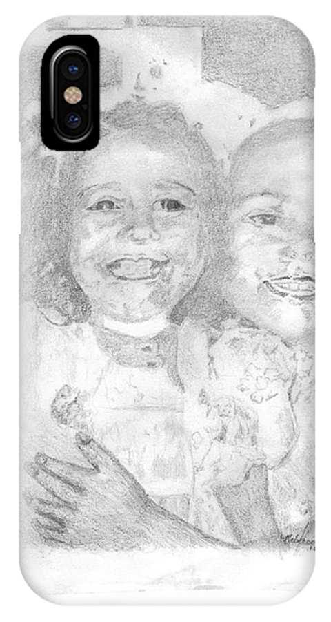 Sisters IPhone X Case featuring the drawing Little Sister by Rebecca Christine Cardenas