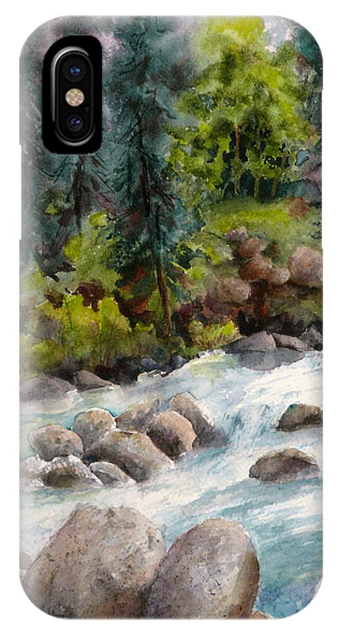 Watercolor IPhone X Case featuring the painting Little Susitna River Rocks by Karen Mattson