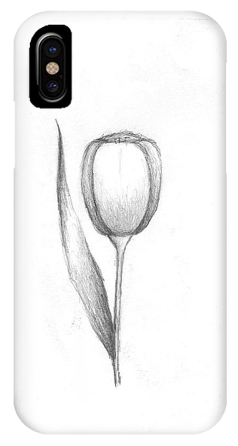 Tulip IPhone X Case featuring the drawing Little Tulip by Rebecca Christine Cardenas