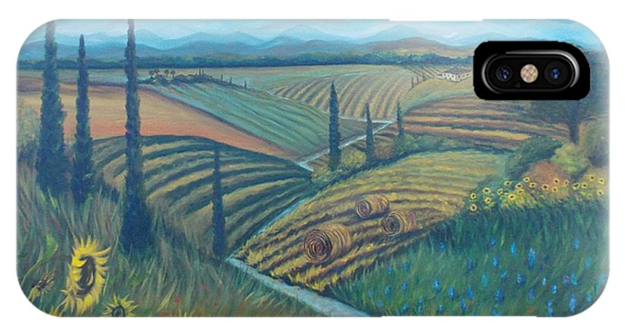 Landscape IPhone X Case featuring the painting Little Tuscany by Julie Cranfill