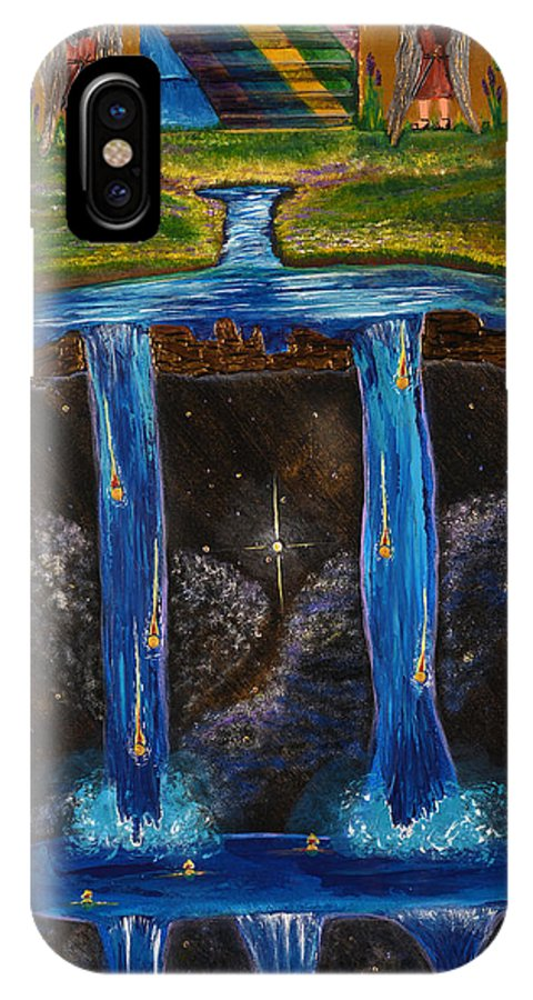 Art-by-cassie Sears IPhone X Case featuring the painting Living Water by Cassie Sears