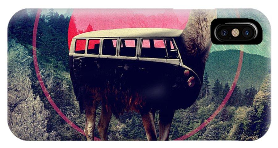 Llama IPhone X Case featuring the digital art Llama by Ali Gulec