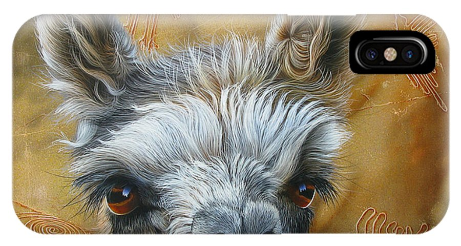Lama IPhone X Case featuring the painting Llama Baby by Jurek Zamoyski