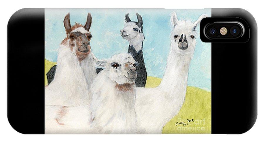 Llama IPhone X Case featuring the painting Llama Herd Camelid Farm Ranch Animal Art by Cathy Peek