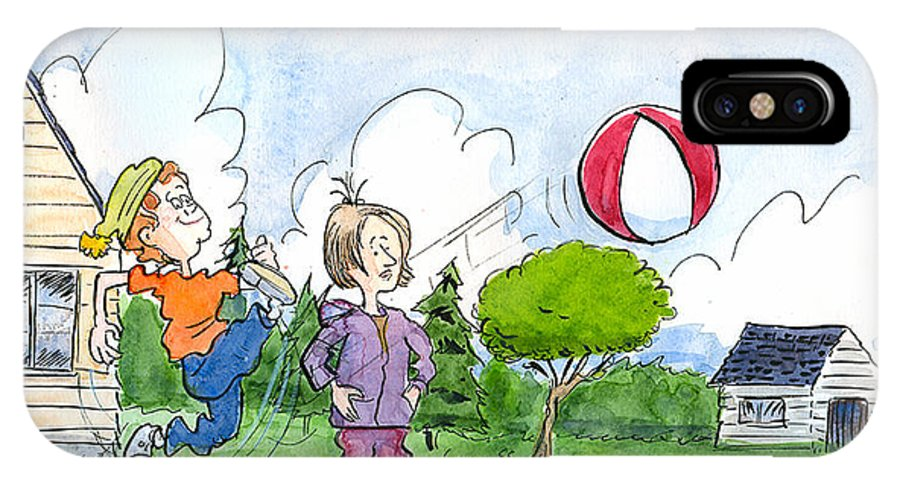 Kids IPhone X Case featuring the drawing Elliot And Ella Playing With A Balloon by Bertrand Dugas