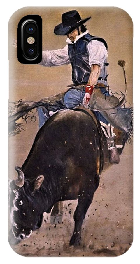Western IPhone X Case featuring the painting Load Of Bull by Barry BLAKE