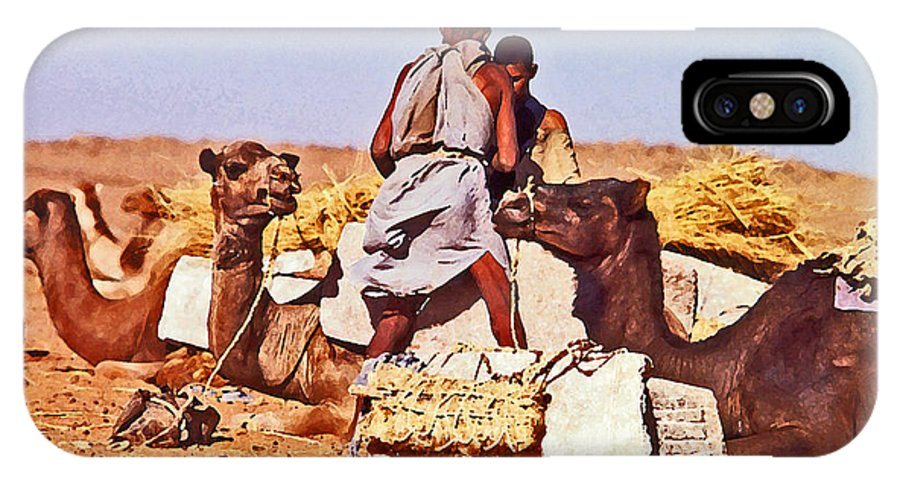 Camels IPhone X Case featuring the painting Loading The Salt Caravan 2 by Anthony Dalton