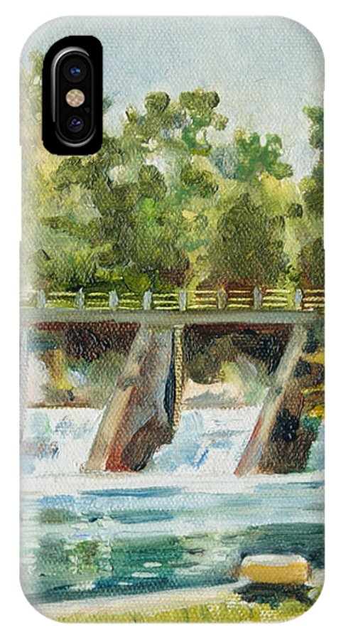 Landscape IPhone X Case featuring the painting Lock 2 Raceway by Sarah Lynch