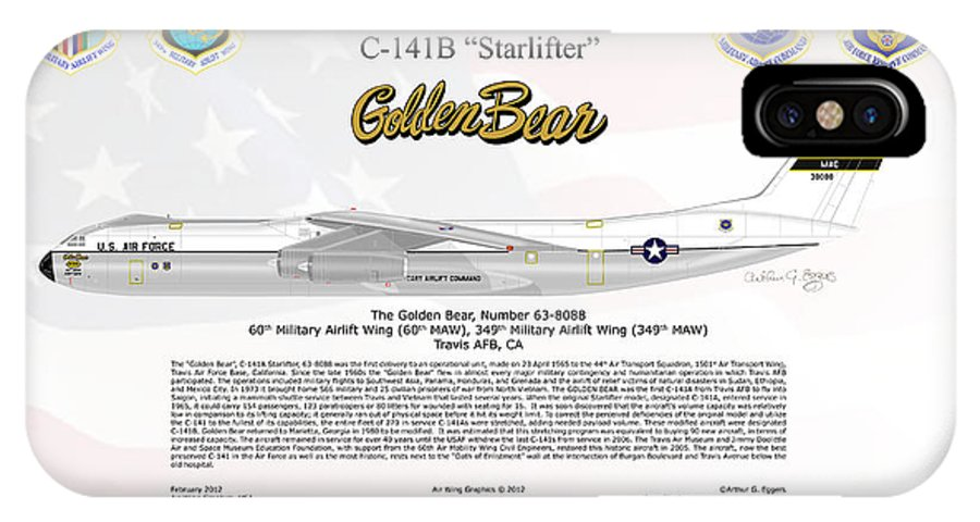 Lockheed IPhone X Case featuring the digital art Lockheed C-141b Starlifter Golden Bear by Arthur Eggers